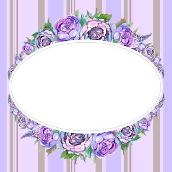 Moldura oval com flores em aquarela