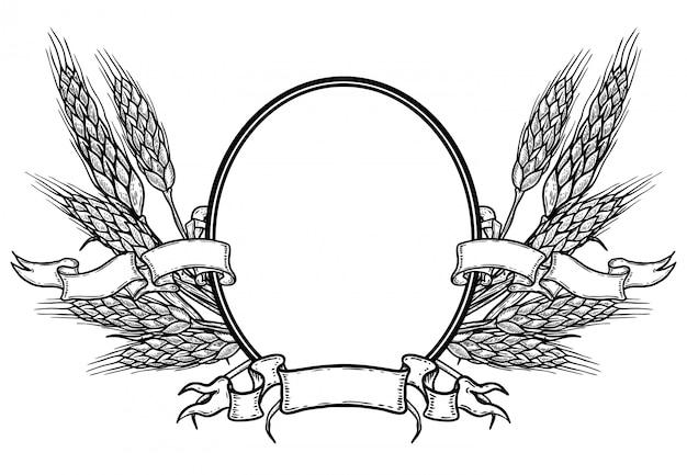 Moldura oval com mão desenhada trigo. modelo de emblema de cerveja.