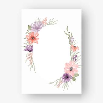 Moldura oval de flores com flores em aquarela