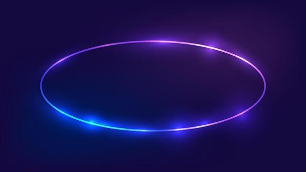 Moldura oval de néon com efeitos brilhantes em fundo escuro. pano de fundo vazio de techno brilhante. ilustração vetorial.