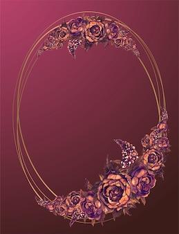 Moldura oval de ouro com flores em aquarela de borgonha