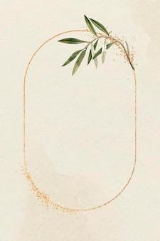 Moldura oval de ouro com vetor de modelo de ramo de oliveira