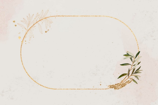 Moldura oval dourada com ramo de oliveira