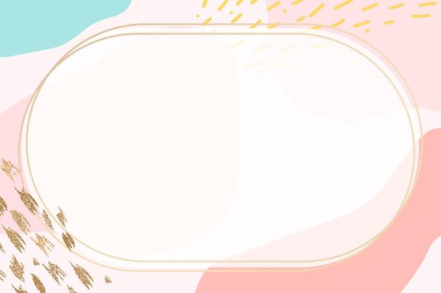 Moldura oval dourada sobre fundo colorido padrão de memphis
