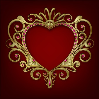 Moldura oval para casamento em ouro com contorno floral