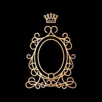 Moldura oval vintage dourada com coroa