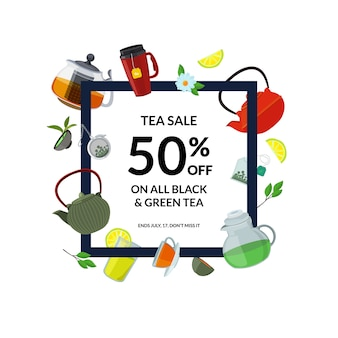 Moldura para beber chá. chaleiras e copos de chá dos desenhos animados