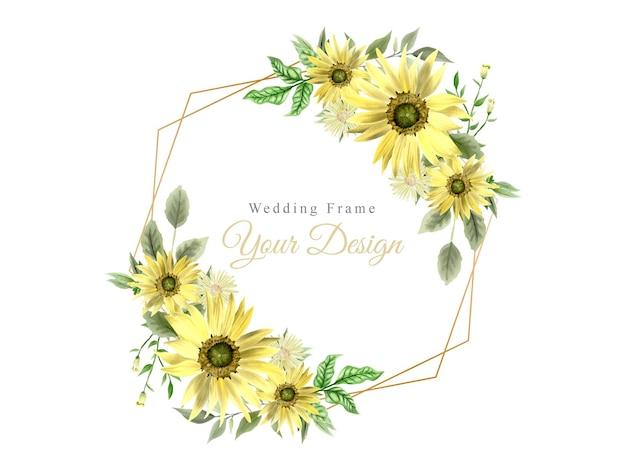 Moldura para convite de casamento com desenho de girassol
