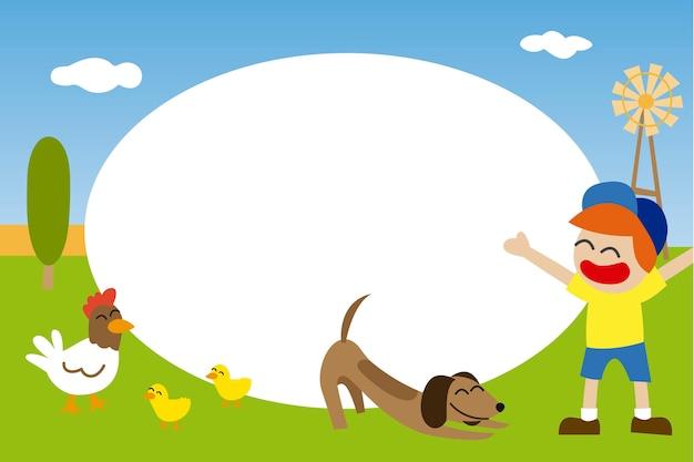 Moldura para crianças com criança com seu animal de estimação