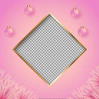 Moldura para fotos de natal com fundo rosa ramo de pinheiro rosa e bola de natal