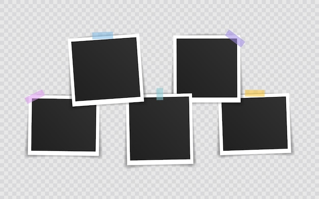 Moldura para fotos. moldura super definida em fita adesiva em fundo transparente. ilustração vetorial