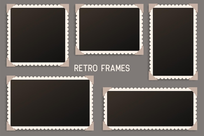 Moldura para fotos vintage realista com sombra