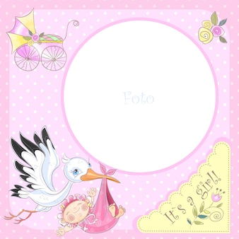 Moldura para o nascimento de uma menina. chá de bebê.
