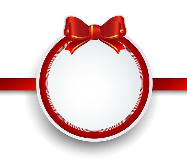 Moldura para presente de natal com fita vermelha e arco.