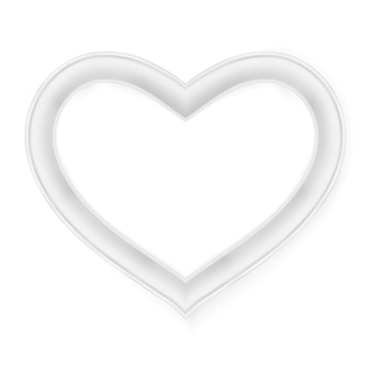 Moldura para retrato do coração isolada no branco.