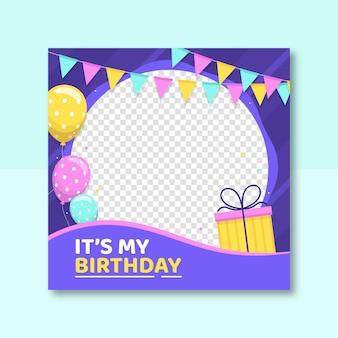 Moldura plana de aniversário do facebook para foto do perfil