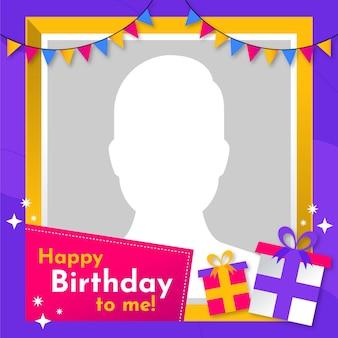 Moldura plana de aniversário para facebook