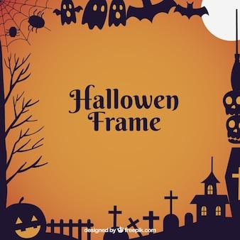 Moldura plana de halloween com estilo moderno