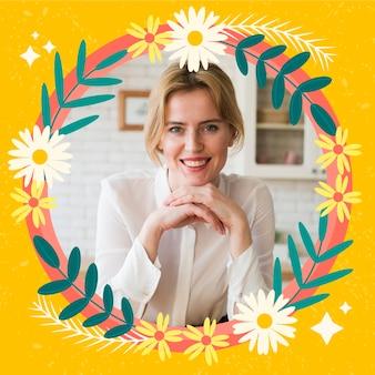 Moldura plana floral do facebook para foto do perfil