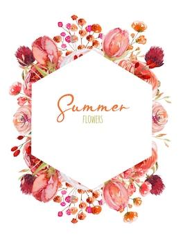 Moldura poligonal de aquarela rosas vermelhas e rosa e outras flores