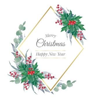Moldura poligonal dourada de feliz natal em aquarela com folhas de inverno