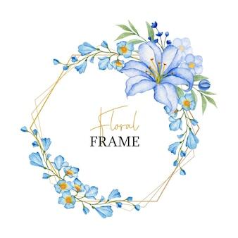 Moldura poligonal dourada elegante com flores azuis