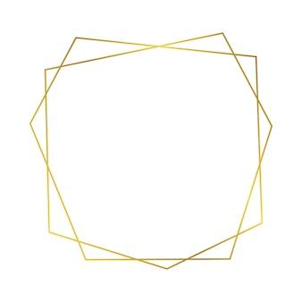 Moldura poligonal geométrica de ouro com efeitos de brilho isolados no fundo branco. pano de fundo vazio brilhante art déco. ilustração vetorial. Vetor Premium