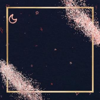 Moldura preta brilhante com borda dourada brilhante e brilho festivo