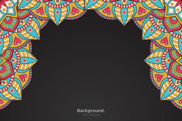 Moldura preta com mandala oriental abstrata