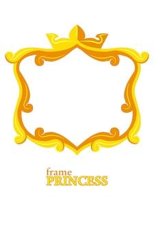Moldura princesa dourada, moldura quadrada de desenho animado
