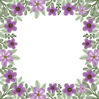 Moldura quadrada com borda de flor roxa para cartão de felicitações