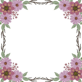 Moldura quadrada com borda em aquarela de flor rosa