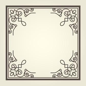 Moldura quadrada com cantos ondulados ornamentados