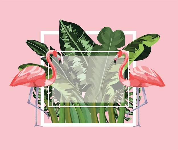 Moldura quadrada com flamingos e folhas de fundo