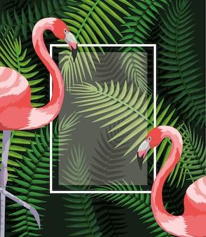 Moldura quadrada com flamingos e galhos de folhas