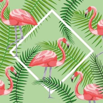 Moldura quadrada com flamingos e ramos folhas fundo