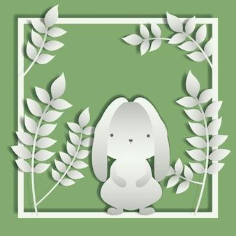 Moldura quadrada com folhas e coelho de páscoa