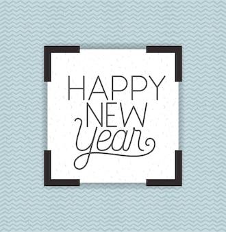 Moldura quadrada com letras de feliz ano novo