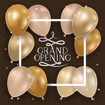 Moldura quadrada com mensagem de inauguração e balões de hélio