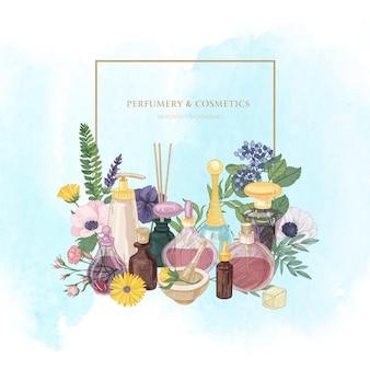 Moldura quadrada com perfume em frascos de vidro de várias formas e tamanhos e elegantes plantas com flores