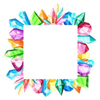 Moldura quadrada: cristais coloridos do arco-íris ou gemas azuis, douradas, verdes, rosa, violetas, isoladas no fundo branco