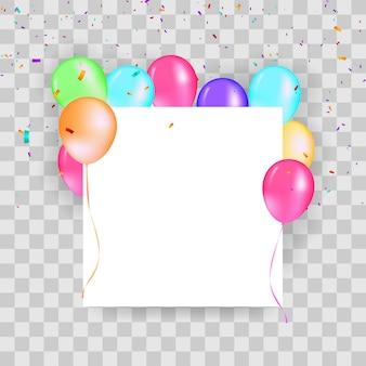 Moldura quadrada de balões com confete