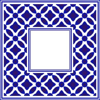 Moldura quadrada de cerâmica azul e branca