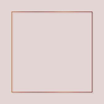 Moldura quadrada de cobre em um vetor de fundo em branco
