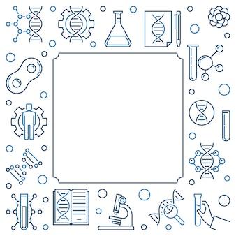 Moldura quadrada de conceito de teste de dna em estilo de estrutura de tópicos