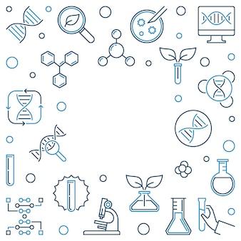 Moldura quadrada de contorno de conceito de genética. ilustração