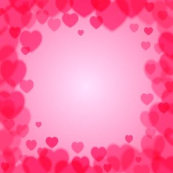 Moldura quadrada de dia dos namorados com corações dispersos bokeh