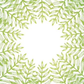 Moldura quadrada de folhas tropicais de samambaia verde ensolarado e espaço negativo branco redondo no centro