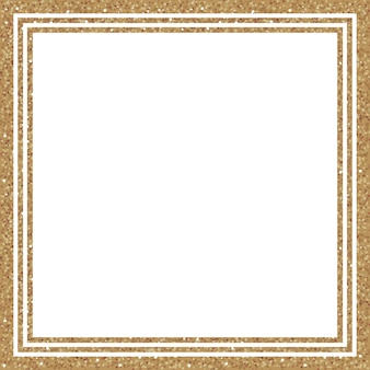 Moldura quadrada de glitter dourados com brilhos em fundo branco. elementos da moda para o seu design. ilustração vetorial.