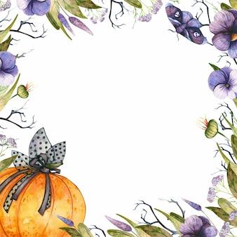 Moldura quadrada de halloween com abóbora em aquarela e flores góticas de outono